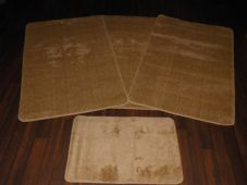 ROMANY GYPSY WASHABLES 4PC SET NON SLIP TRAVELLERS MATS PLAIN LIGHT BROWN NEW